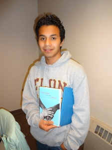 Jacinto with a book on Fair Trade, this is a good follow up to our visit to Theo's Chocolate Factory a few weeks ago!