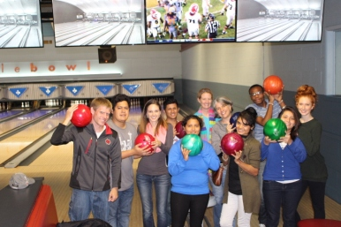 Bowling with former volunteers, 2015.